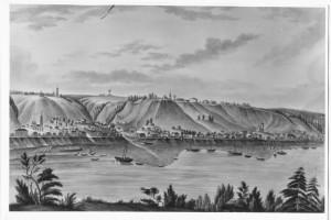 Плёс в середине XIX века. Слева видна Петропавловская гора с каменным и деревянным храмами.